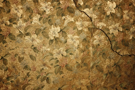 decorative wallpaper: vintage floral wallpaper on cracked wall Stock Photo