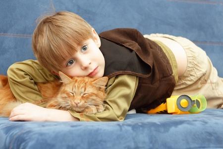 kitten and child best friends photo