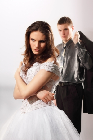 just married couple sad in conflict Stock Photo - 8819890