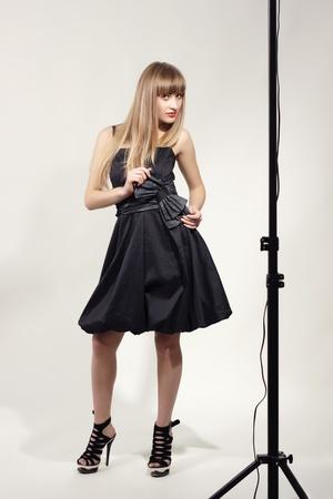 attractive fashion model in studio photo