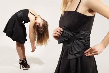 attractive fashion model in studio collage photo