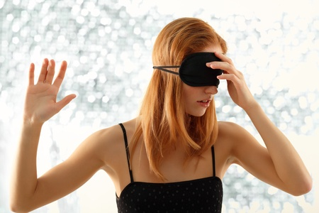unsighted: girl with bandage
