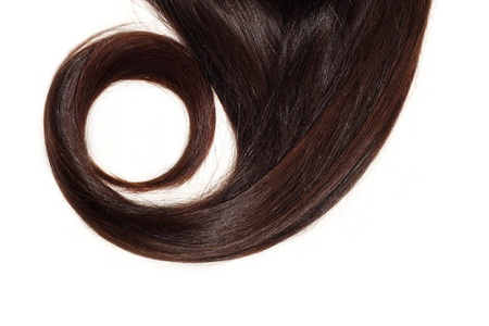 hair lock brown thick isolated on white background photo