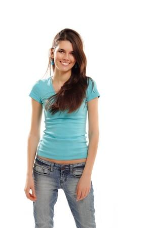 cute teen girl: жизнерадостная девушка подросток изолирован на белом фоне