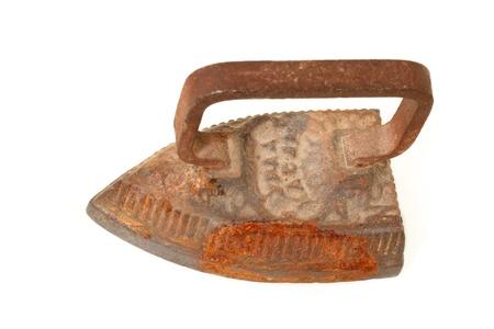 smoothing iron cast-iron vintage isolated on white background photo