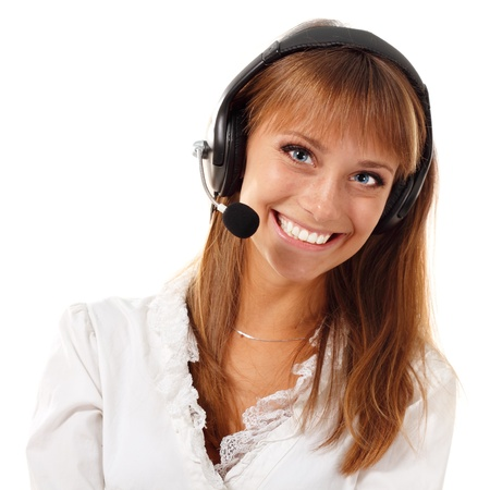 Support phone operator beautful young woman in headset isolated on white background Stock Photo - 10185118