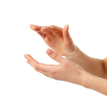manos aplaudiendo: hembra de aplausos manos aislada sobre fondo blanco