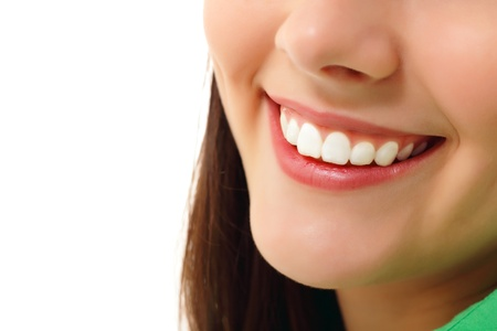 stomatology: perfect smile healthy tooth cheerful teen girl isolated on white background Stock Photo