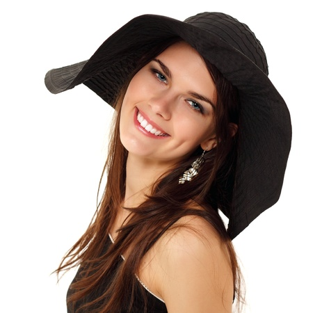 summer teen girl cheerful in panama and  sunglasses enjoying isolated on white background photo