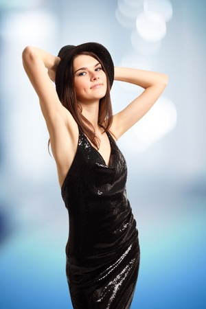 dancing party girl happy young attractive photo