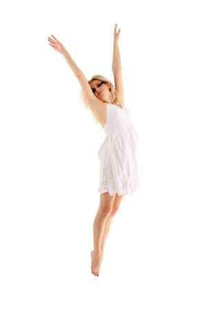 teen girl dancer isolated on white background photo