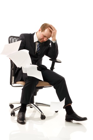 tired businessman: businessman tired depressed isolated on white background