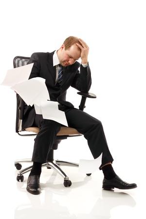 businessman tired depressed isolated on white background photo