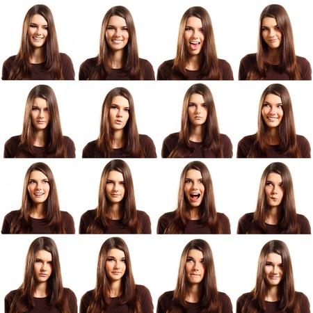 expresiones faciales: aisladas sobre fondo blanco de grimacing conjunto adolescente chica