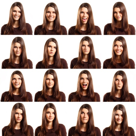 expression: teenager girl grimacing set isolated on white background