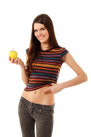 diet teen girl cheerful slim with apple show belly isolated on white background
