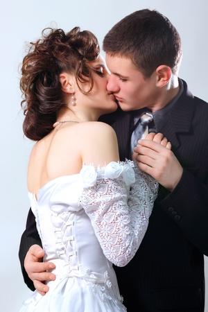 broom kissing bride   photo