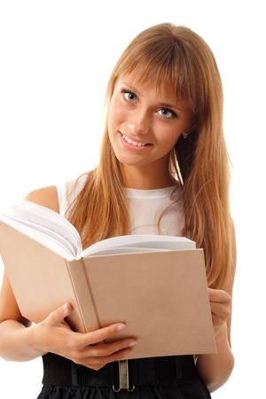 student teen girl cheerful with book isolated on white background photo