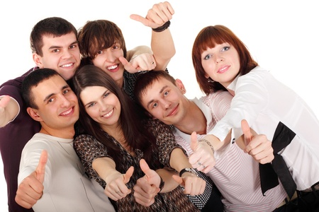 thumbs up group: thumbs up students group happy isolated on white background Stock Photo