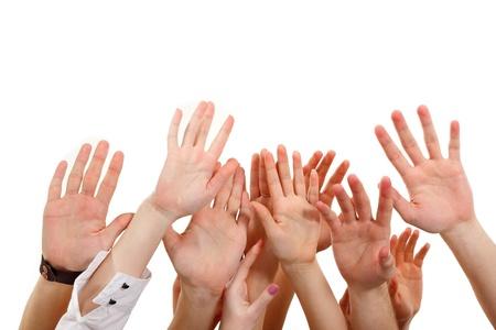 Hands up groupe les personnes isolées sur fond blanc Banque d'images