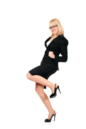 victory stand: businesswoman successful full-length isolated on white background Stock Photo