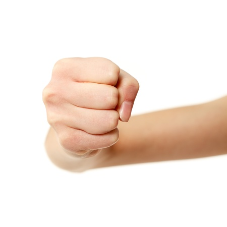 human fist: fist gesturing female hands isolated on white background