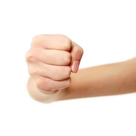 puÑos: puño gesturing manos femeninas aisladas sobre fondo blanco