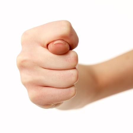 desprecio: gesto de forma fig manos hembra aislada sobre fondo blanco