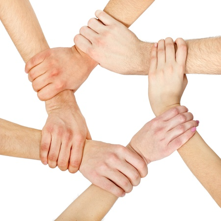 hand chain: hands ring teamwork isolated on white background Stock Photo