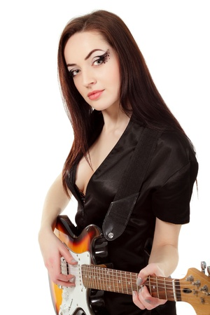 sexy guitar: woman sexy beautiful musician holding guitar electric isolated on white background Stock Photo