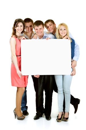 students group happy holding blank white banner isolated on white background photo