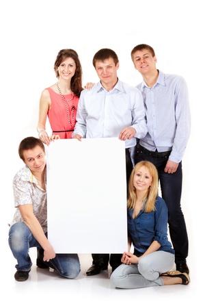estudiantes grupo feliz celebración en blanco blanco banner aislada sobre fondo blanco