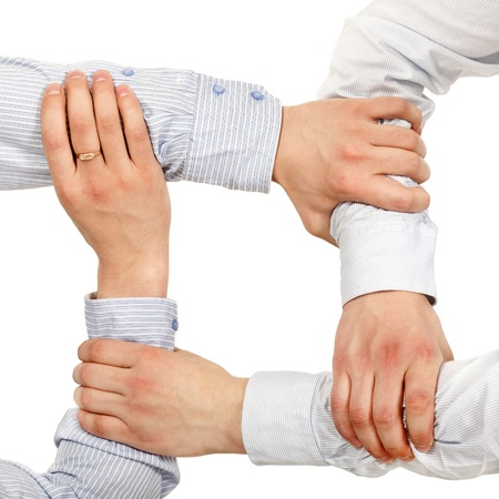 businessman hands makes strong support isolated on white background
