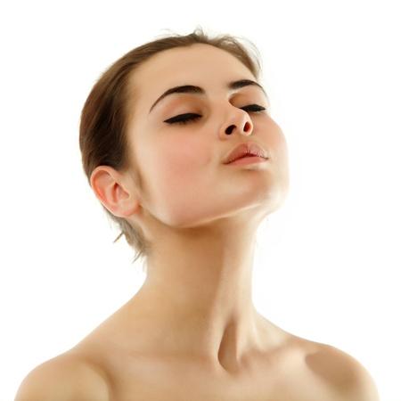 collo: bellezza donna giovane adolescente isolato su sfondo bianco