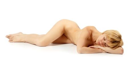 naked young girl: woman nude beautiful sexy sleeping isolated on white background Stock Photo