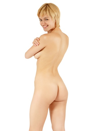 nude ass: back woman sexy nude beautiful young posing isolated on white background