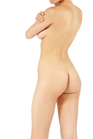 mujer desnuda de espalda: volver sexy mujer desnuda y bella mujer posando sobre fondo blanco Foto de archivo
