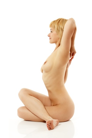 nude sport: woman yoga nude young active isolated on white background Stock Photo