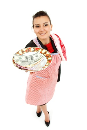 businesswoman housewife reach out money on plate isolated on white background photo