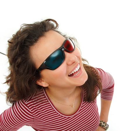 teen girl happy with 3d glasses isolated on white background photo