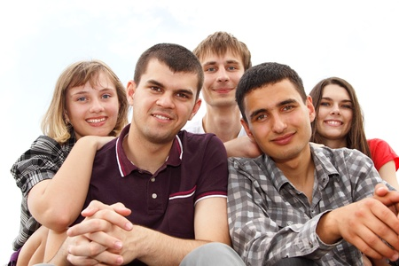 students happy friends group  Stock Photo - 11533560