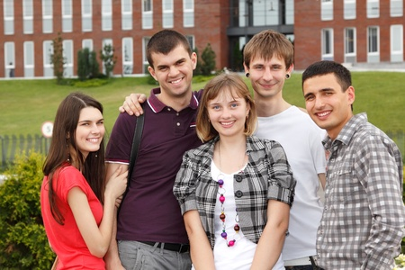 students happy friends group university outdoor photo