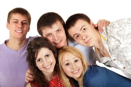 students happy group isolated on white background photo