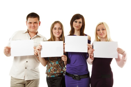 students group happy holding blank empty banners isolated on white background photo