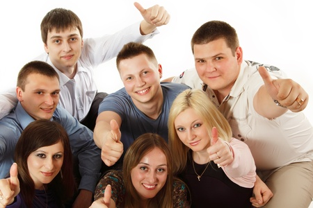thumbs up students group happy isolated on white background photo