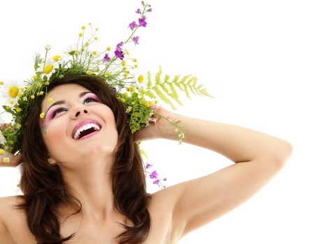 woman beauty face makeup with summer field wild flowers fresh natural isolated on white background Stock Photo - 11736422