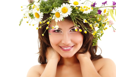 woman beauty face makeup with summer field wild flowers fresh natural isolated on white background Stock Photo - 11736569