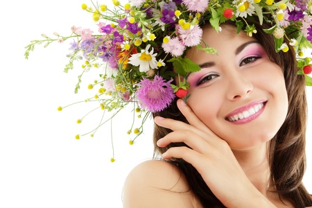 amazing: woman beauty face makeup with summer field wild flowers fresh natural isolated on white background Stock Photo