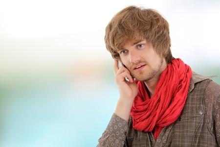 man trendy handsome gay calling phone photo