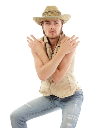 man trendy cowboy handsome isolated on white background photo